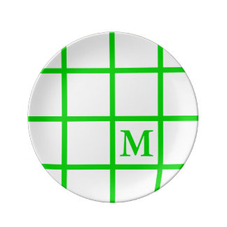 Bright Summer Green Lattice Stripes Monogram Plate