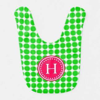 Bright Summer Green Polka Dots Monogram Bib