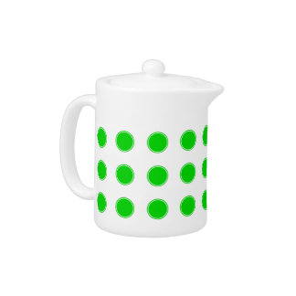 Bright Summer Green Polka Dots on White