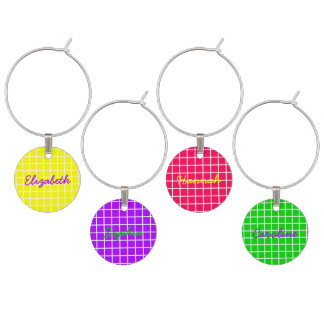 Bright Summer Lattice Personalized Wine Charms