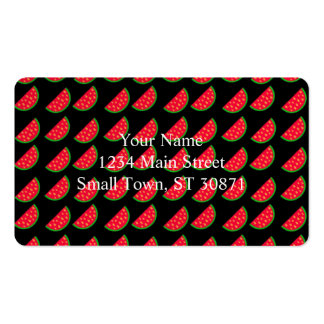 Bright Summer Picnic Watermelons on black backgrou Double-Sided Standard Business Cards (Pack Of 100)