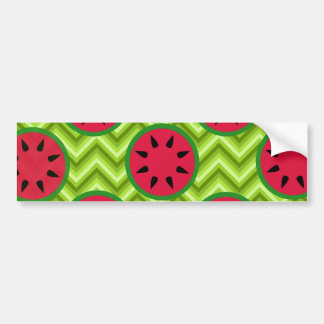 Bright Summer Picnic Watermelons on Green Chevron Bumper Sticker