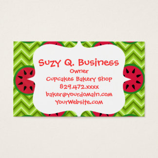 Bright Summer Picnic Watermelons on Green Chevron Business Card