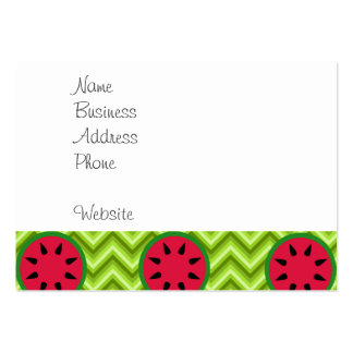 Bright Summer Picnic Watermelons on Green Chevron Large Business Card