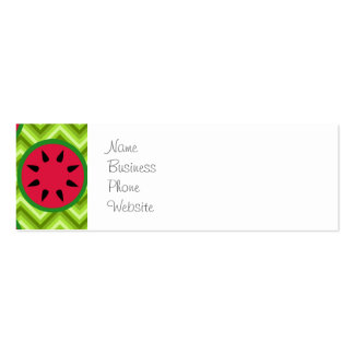 Bright Summer Picnic Watermelons on Green Chevron Mini Business Card