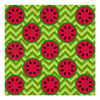 Bright Summer Picnic Watermelons on Green Chevron Poster
