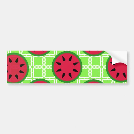 Bright Summer Picnic Watermelons on Green Squares Bumper Stickers