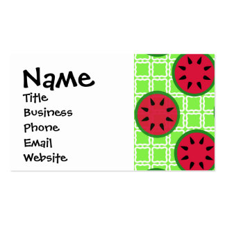 Bright Summer Picnic Watermelons on Green Squares Double-Sided Standard Business Cards (Pack Of 100)