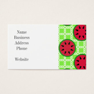 Bright Summer Picnic Watermelons on Green Squares Business Card