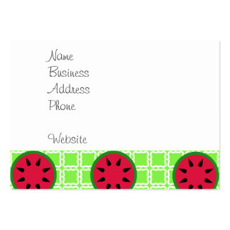 Bright Summer Picnic Watermelons on Green Squares Large Business Cards (Pack Of 100)