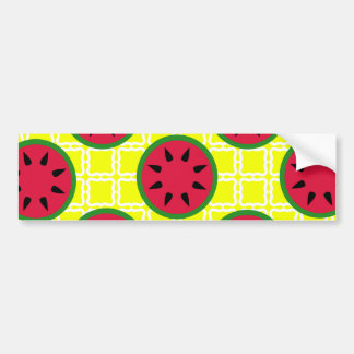 Bright Summer Picnic Watermelons on Yellow Squares Bumper Sticker