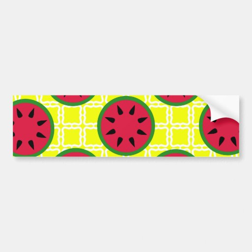 Bright Summer Picnic Watermelons on Yellow Squares Bumper Stickers