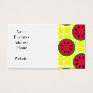 Bright Summer Picnic Watermelons on Yellow Squares Business Card