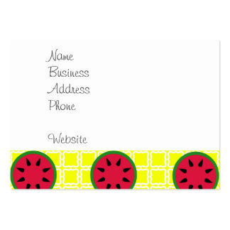 Bright Summer Picnic Watermelons on Yellow Squares Large Business Cards (Pack Of 100)