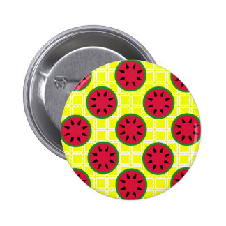 Bright Summer Picnic Watermelons on Yellow Squares Buttons
