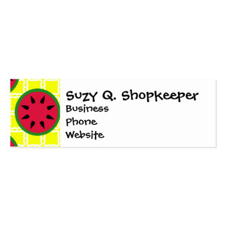 Bright Summer Picnic Watermelons on Yellow Squares Mini Business Card