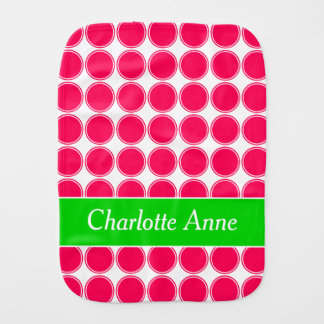 Bright Summer Pink and Green Polka Dot Burp Cloth