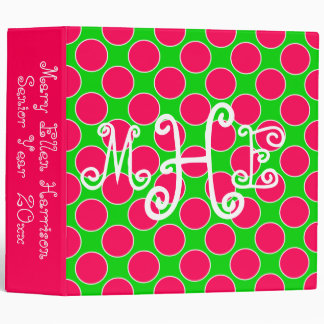 Bright Summer Pink and Green Polka Dot Monogram 3 Ring Binder