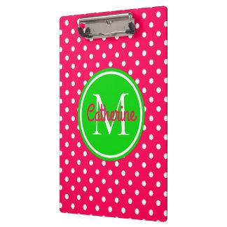 Bright Summer Pink and Green Polka Dot Monogram Clipboard
