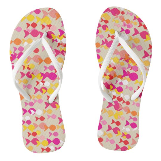 Bright Summer Pink Cheerful Fish Pattern Cheerful Flip Flops