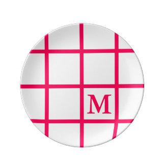 Bright Summer Pink Lattice Stripes Monogram Plate