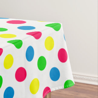 Bright Summer Polka Dots on White Tablecloth