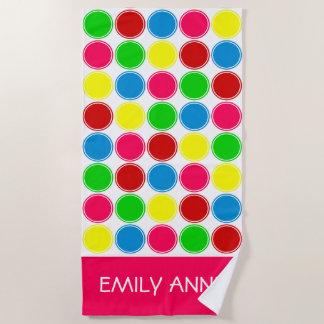Bright Summer Polka Dots Personalized Beach Towel