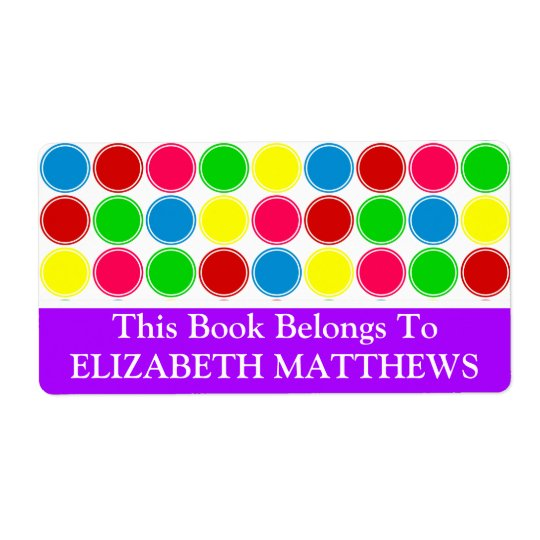 Bright Summer Polka Dots With Purple Bookplate Shipping Label