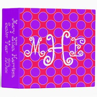 Bright Summer Purple and Pink Polka Dot Monogram Binder