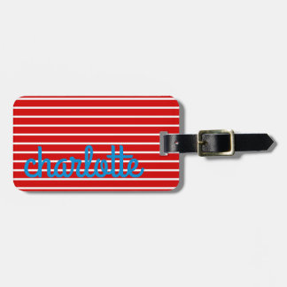 bright Summer Red and Blue With White Stripes Luggage Tag