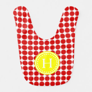 Bright Summer Red Polka Dots Monogram Bib