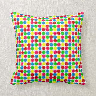 Bright Summer Small Polka Dots on White Throw Pillow