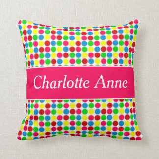 Bright Summer Small Polka Dots Personalized Throw Pillow
