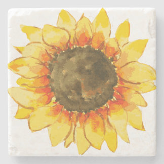 Bright Summer Sunflower Watercolor Stone Coaster