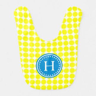 Bright Summer Yellow Polka Dots Monogram Bib