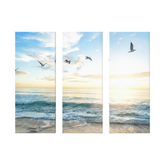 Bright Sun and Seagulls over the Water Canvas Wrap