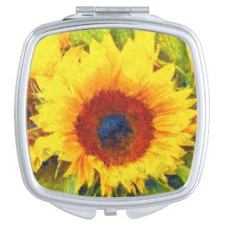 Bright Sunflower Art Compact Mirrors