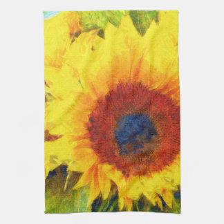 Bright Sunflower Art Kitchen Towel