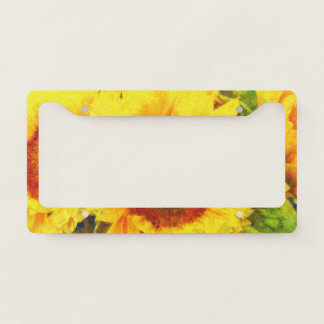 Bright Sunflower Art License Plate Frame
