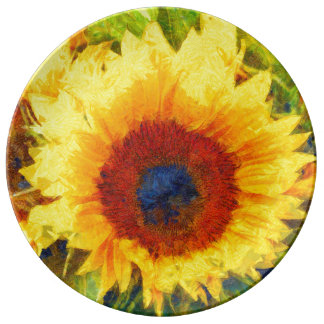 Bright Sunflower Art Plate
