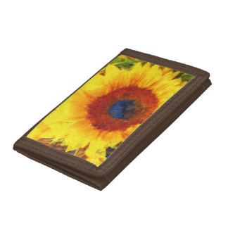 Bright Sunflower Art Trifold Wallet