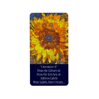 Bright Sunflower Circle Mosaic Digital Art Print Label