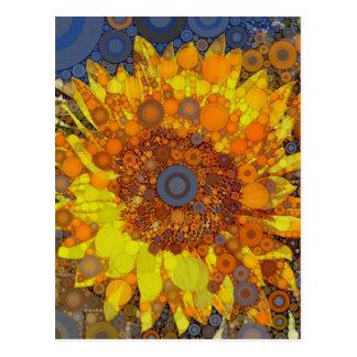 Bright Sunflower Circle Mosaic Digital Art Print Postcard
