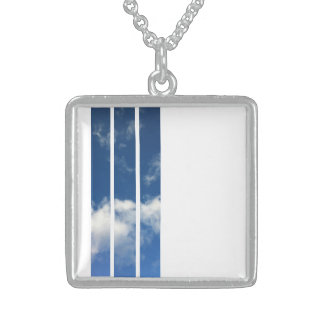 Bright Sunny Blue Sky Stripe Square Necklace