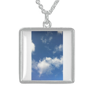 Bright Sunny Blue Sky White Cloud Square Necklace