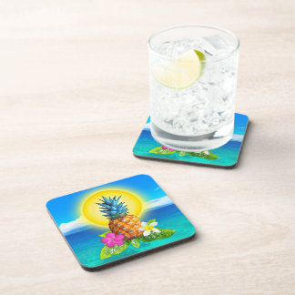 Bright Sunny Hawaiian Pineapple Coasters Set of 6
