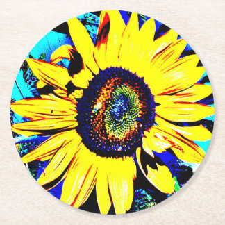 Bright Sunny Sunflower Round Paper Coaster