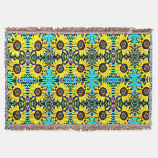 Bright Sunny Sunflower Throw Blanket