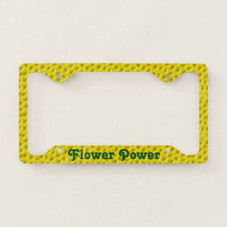 Bright Sunny Yellow Flowers Pattern Flower Power License Plate Frame
