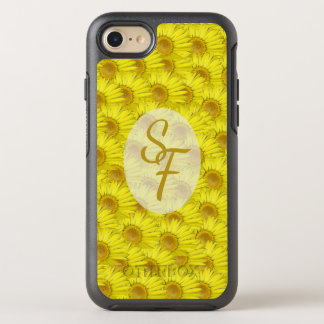 Bright Sunny Yellow Flowers Pattern Monogram OtterBox Symmetry iPhone 8/7 Case